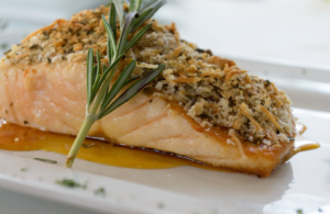 Walnut Crusted Salmon with Honey and Rosemary